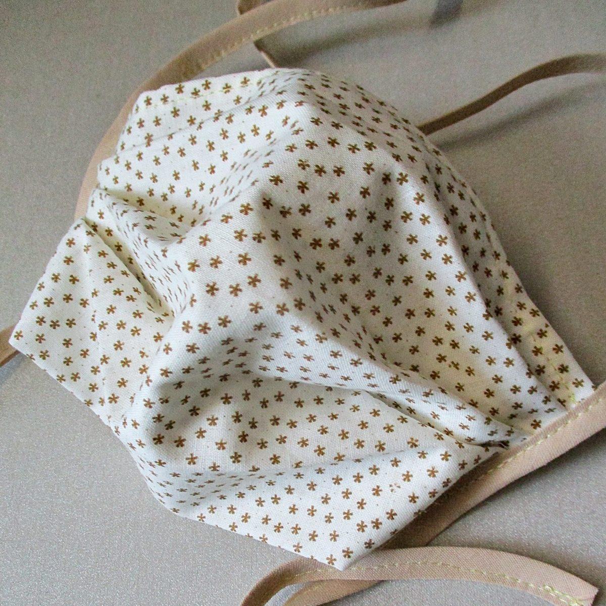 Gesichtsmaske Baumwolle Sterne beige